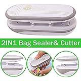 Mini Bag Sealer, Ariskey 2 in 1 Heat Sealer and Cutter Handheld Portable Bag Resealer Sealer for Plastic Bags Food…