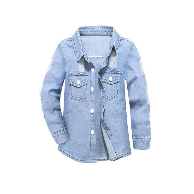 7b0040044 Bebé Solapa de vaquero perforado Jeans denim abrigo , Yannerr niña niño  invierno primavera chaqueta sudadera