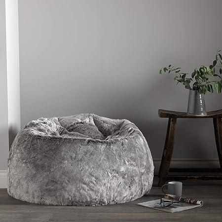 Pouf Poire Grand Chaise pour Chambre Poufs de Salon 85cm x 50cm Icon Pouf Classique en Fausse Fourrure Gris Loup Arctique