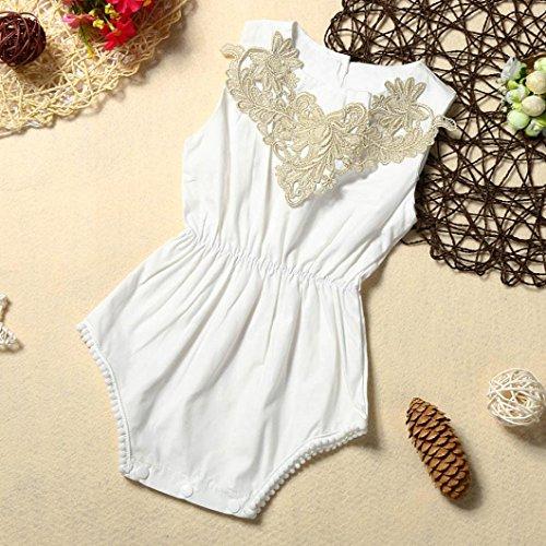IGEMY Neugeborenes Baby Mädchen Kleidung, Einfarbig Spitze Strampler Overall Outfits Weiß