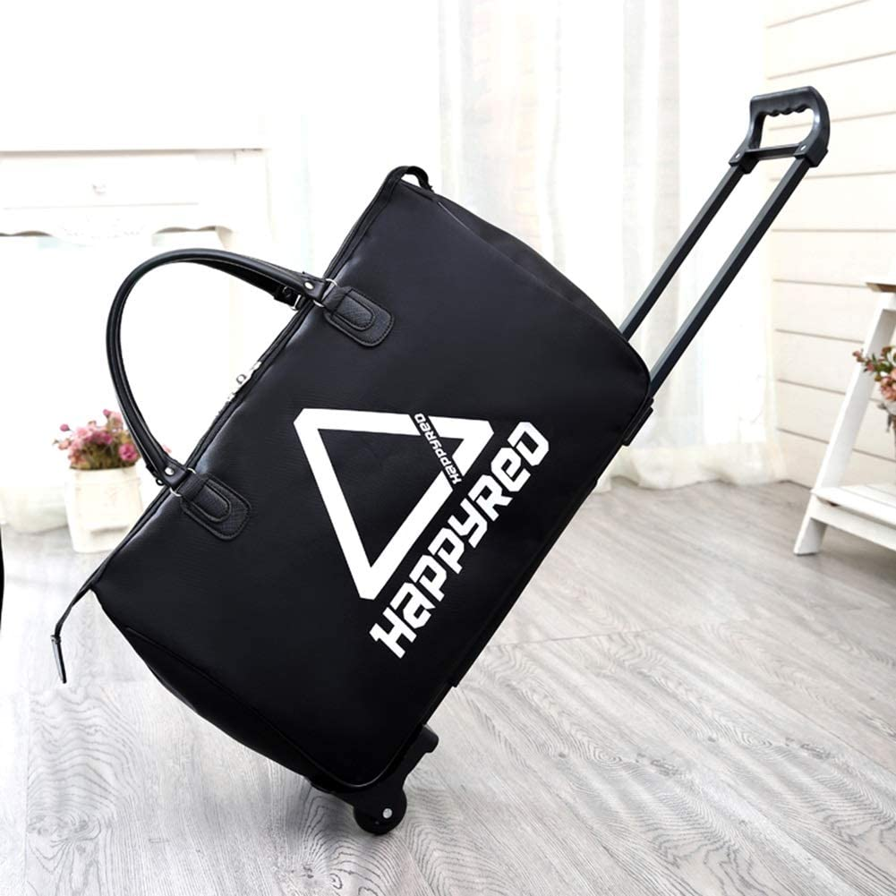 Color : Happyred, Size : 533723 Travel Bags Splice Leisure fold Boarding Package Trolley Case Luggage Suitcases Carry On Hand Luggage Durable Hold Tingting