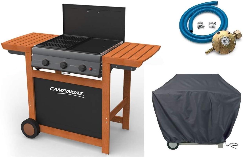 Barbacoa a gas GLP Adelaide Woody 3 Campingaz con quemadores fundido Campingaz + Kit Regulador Gas + toalla de cubierta original Campingaz