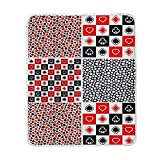 ALAZA Four Casino Playing Card Poker Floral Plush Throws Siesta Camping Travel Fleece Blankets Lightweight Bed SOFE Size 50x60inches