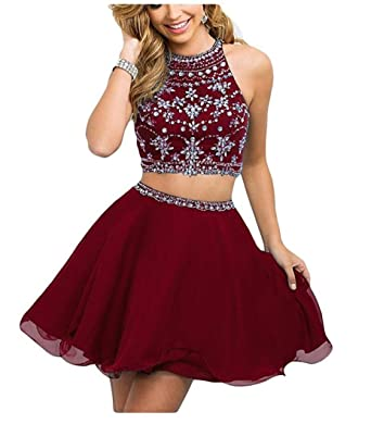 Cloverdresses Womens Rhinestone Bling Two Pieces Short Prom Dresses Homecoming Dresses burgundy 2