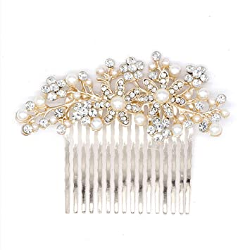 Uk Bridal Prom Silver Crystal Diamanté Pearl Hair Clip Comb Slide Fascinator