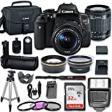 Canon EOS Rebel T6i DSLR Camera with Canon EF-S 18-55mm f/3.5-5.6 IS STM Lens + Battery Grip + Wide Angle Lens + 2.2x Telephoto Lens + 32GB SD Memory Card + New Accessories Bundle