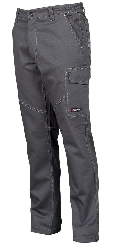 Colore: Smoke CHEMAGLIETTE Pantaloni da Lavoro in Cotone 100/% Multi Stagione Vestibilit/à Regular Tasche Laterali Portametro Bande Reflex Taglia: 3XL