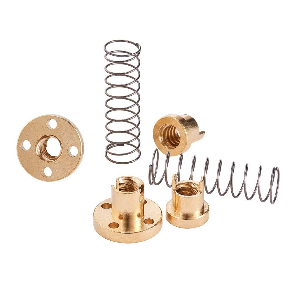 INCREWAY 2pcs T8 Anti-Backlash Spring Loaded Nut Elimination Gap Nut for Diameter 8mm Acme Threaded Rod Lead Screws
