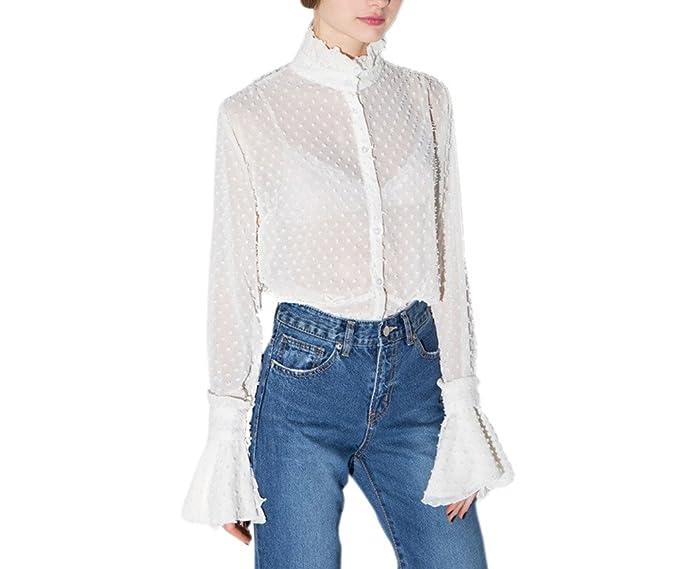 Archie Vince Womens White Victorian Floral Lace High Neck Shirt