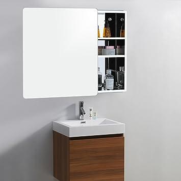 Hochglanz Bad Spiegelschrank mit Schiebetür aus Edelstahl für ...