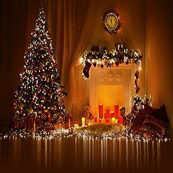6x8ft vinyl christmas tree fireplace socks candles photography studio backdrop background