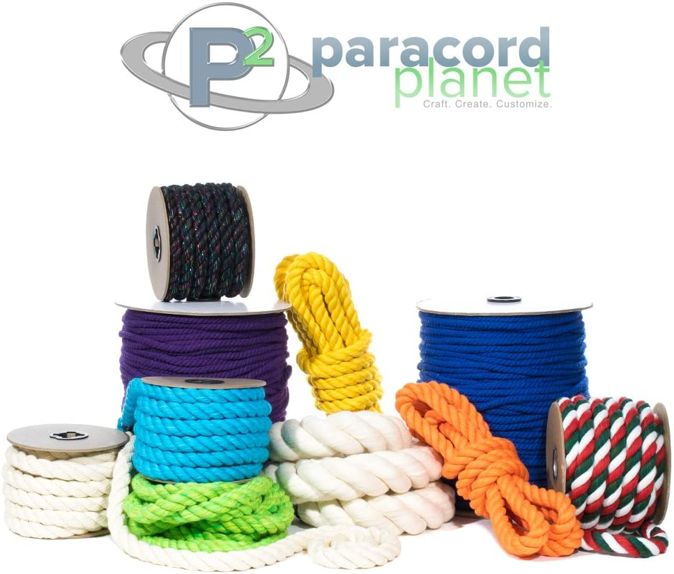 1//2 and 1 inch Diameters 3//4 25 50 PARACORD PLANET Twisted 3 Strand Natural Cotton Rope Artisan Cord Super Soft White and Assorted Colors by The Foot 1//4 10 100 and Full Spools 5//8