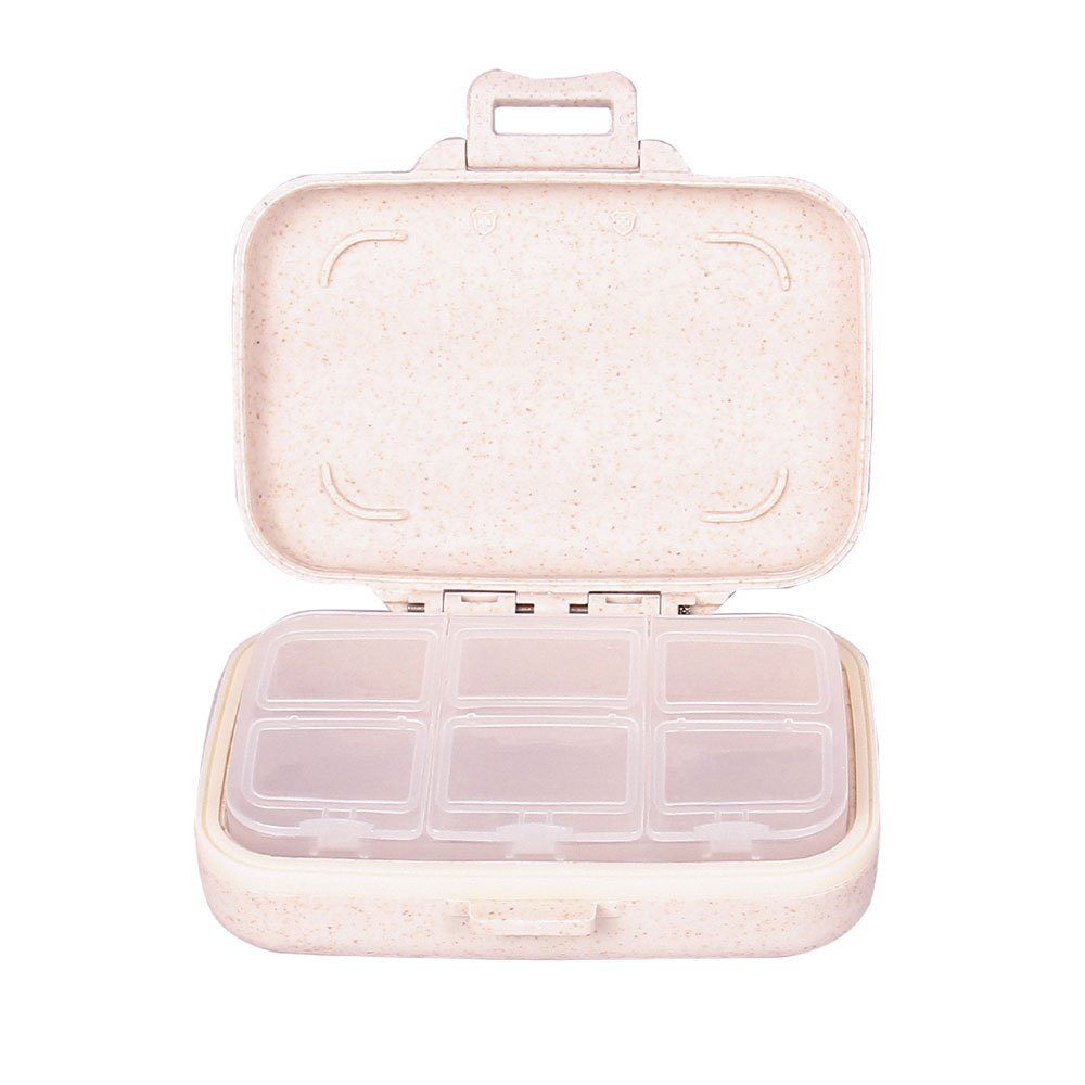 Tiny Pill Box-Portable Travel Vitamin Cases Organizers for Women Food Grade Hard Plastic With Natural Wheat Fiber Removable 6-Compartment Pill Container-Beige