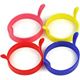 BOMIEN 4pcs Kitchen Cooking Silicone Fried Oven Poacher Pancake Egg Poach Ring Mould