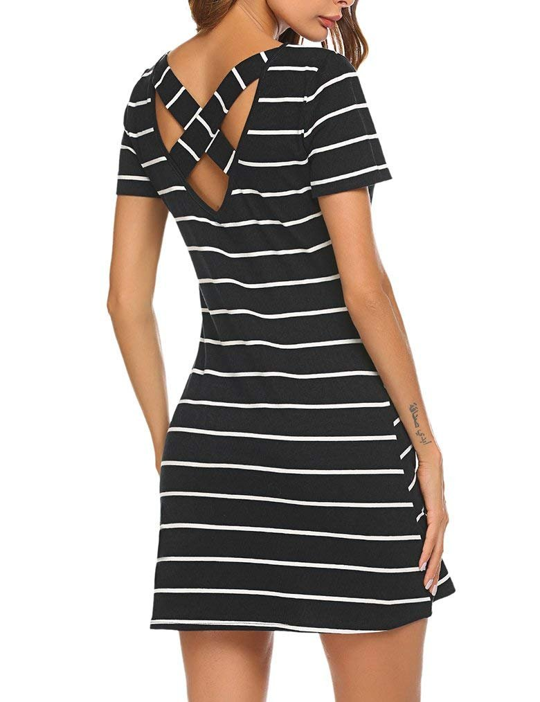 Mlxgoie Women's Casual Loose Striped Lovely Dress Short Sleeve T Shirt Mini Dress with Pockets (Black, Medium)