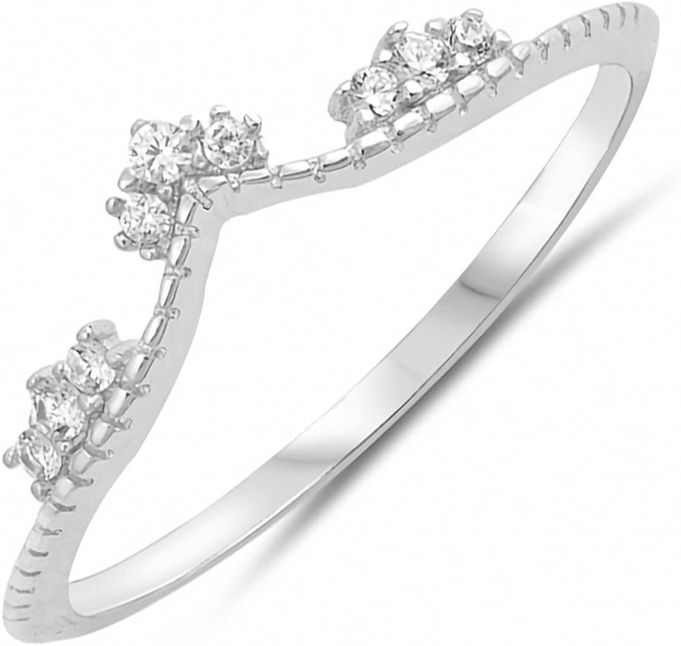 Cubic Zirconia Tiara .925 Sterling Silver Ring Sizes 4-10