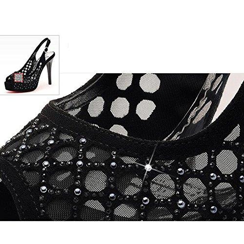 Dimensioni Spillo Hollow Nero 36 Sexy Sandali a Tacco Colore Tacco Scarpe Shoe Alto Mesh Donna store da Z6xaq5n8w