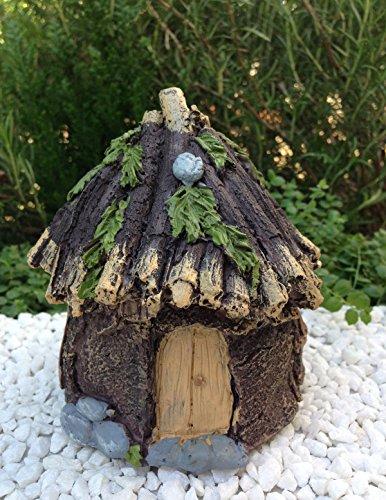 Miniature Dollhouse Fairy Garden Bark Look Resin Hut Cottage - Hut Wheelers