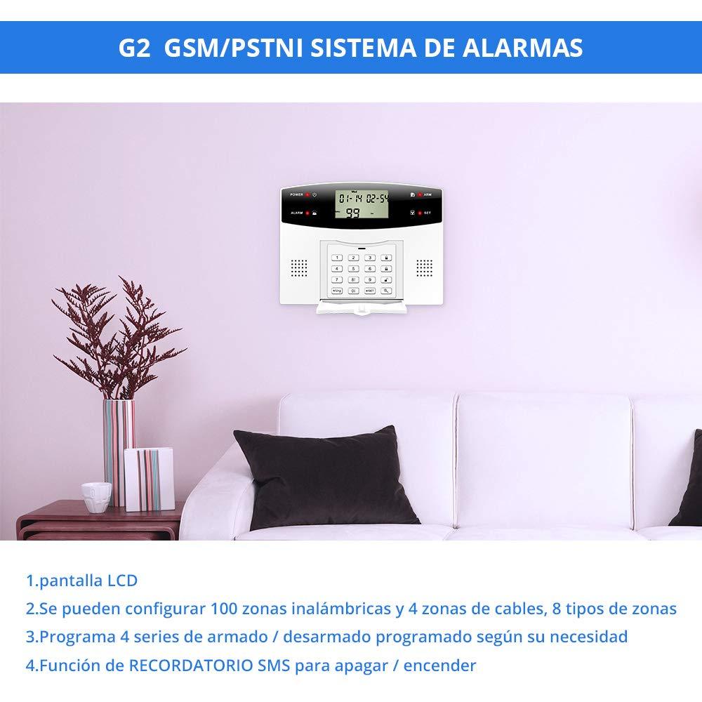 Fuers - G2 Kit Alarma Casa inalámbrica GSM/PSTN, IR ...