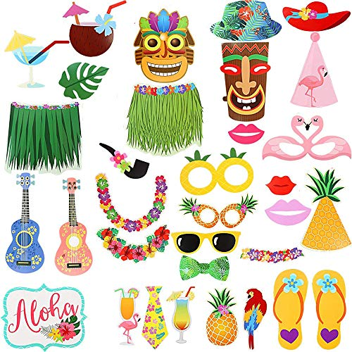 Photo booth props kit Luau party supplies -Aloha hawaiian Tropical Tiki Birthdays Summer Beach pool party favors decorations for kids -