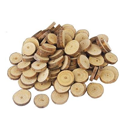 Buy Yardwe 100pcs Round Wood Pieces Natural Wood Slices Unfinished