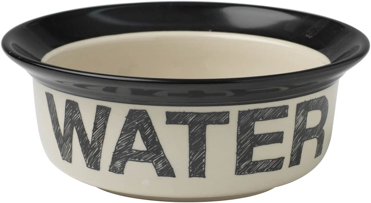 PetRageous 10184 Pooch Basics Stoneware Dog Water Bowl with 2-Cup Capacity 6-Inch Diameter 2.5-Inch Tall for Medium and Large Dogs and Cats, Black and Natural