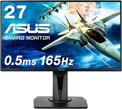 【Amazon.co.jp限定】ASUSゲーミングモニター 27インチ VG278QR-J 0.5ms 165Hz スリムベゼル G-SYNC Compatible FreeSync HDMI DP DVI高さ調整 縦回転 3年保証