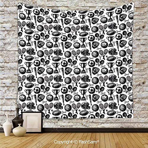 Polyester Tapestry Wall Monochrome Trophy Baseball Glove Ping Pong Ball Sketch Style Bat Tournament Inspired Hanging Printed Home Decor(W51xL59)