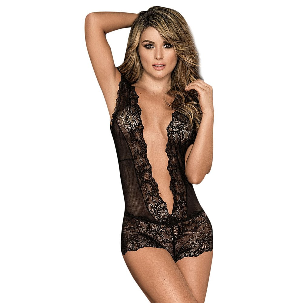 Anewoneson Women Snap Crotch Bodysuit Lingerie Deep V Plunging Teddy Lace Backless Teddy (S, Black1)