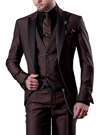ef60c79f288c Mens 3 Piece Suit Slim Fit Brown Sale Party Ball Dress Suit and Pants for  Teens