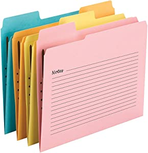 Smead SuperTab Notes Folder, One Fastener, Oversized 1/3-Cut Tab, Guide Height, Letter Size, Assorted Colors, 24 per Pack (11974)