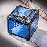 J Devlin Glass Art Box 349-2 Blue Rosary Box Stained Glass Jewelry Keepsake Box Christian Cross for Baptism, Christening, First Communion, Confirmation Gift Trinket Box