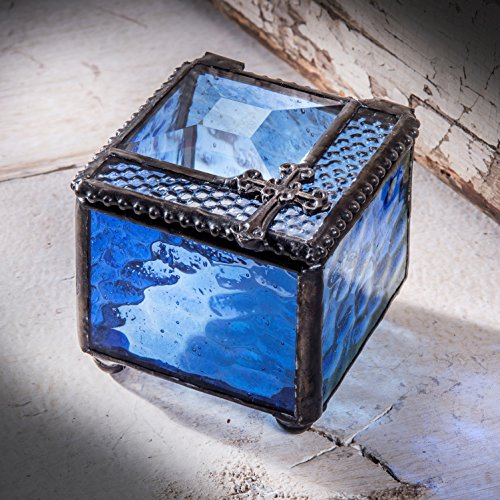 J Devlin Glass Art Box 349-2 Blue Rosary Box Stained Glass Jewelry Keepsake Box Christian Cross for Baptism, Christening, First Communion, Confirmation Gift Trinket Box by J Devlin Glass Art