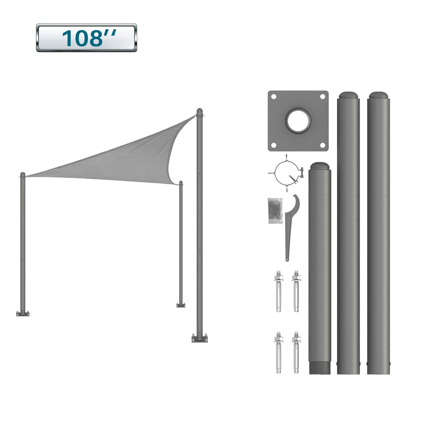 Coarbor Pole Kit for Sun Shade Sail Canopy Installation Sturdy and Strong Free Standing Post for Outdoor Deck Patio Yard