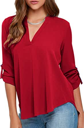YMING Women's Casual Chiffon Blouse Long Sleeve Solid Color V Neck Tunic Shirt
