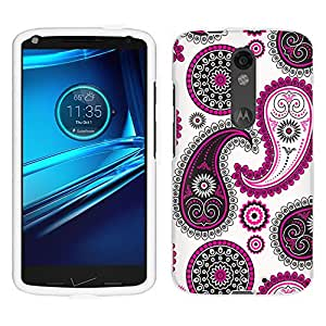 Motorola Droid Turbo 2 Case, Snap On Cover by Trek Paisley Pink Black on White Case