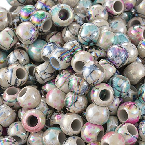 500pcs 8mm Mixed Round Acrylic Flower Big Hole (Big Bead)