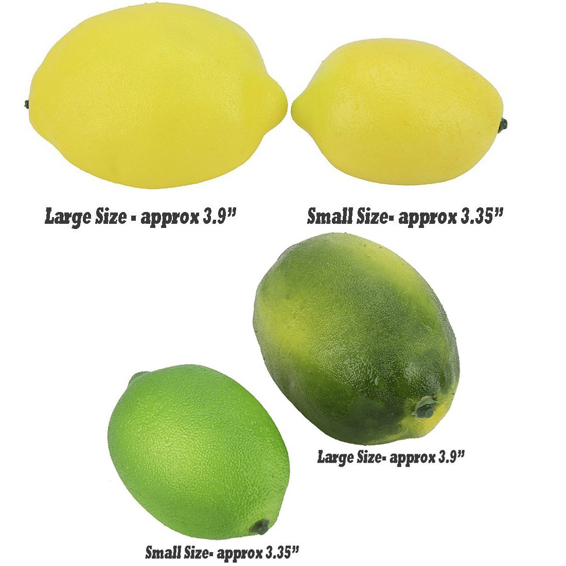Buytra 8 Pack Artificial Fake Lemons Limes Fruit for Vase Filler Home Kitchen Party Decoration Yellow and Green 3.35 Small