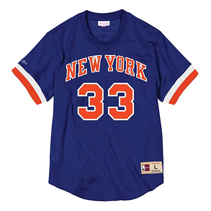 Mitchell & Ness Patrick Ewing Name & Number Mesh Crewneck (New York Knicks),