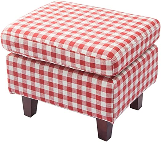Home Multifunctional Wooden Stool Foot Stool Change Shoe Stool Square Ottoman Padded Footrest with Wooden 4 Legs Available in Red Checkered Linen Fabric Seat for Living Room