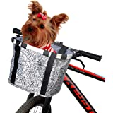 ANZOME Bike Basket, Folding Small Pet Cat Dog Carrier Front Removable Bicycle Handlebar Basket Quick Release Easy Install Detachable Cycling Bag Mountain Picnic Shopping- Gary