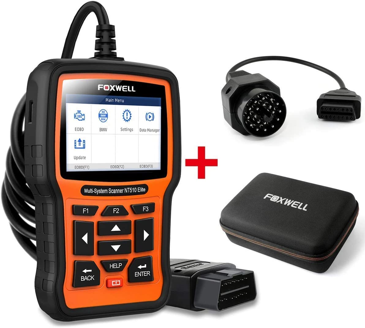 FOXWELL Car Full-System Diagnostic Tool NT510 Elite for BMW with EVA Case and 20Pin Adapter