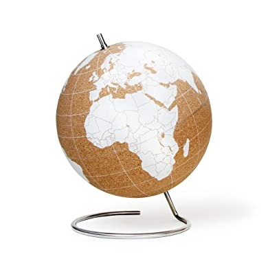 Suck UK Large White Desktop Cork Globe | Push PINS Included | Educational World MAP | Travel Accessories | Adventure & Memories Display