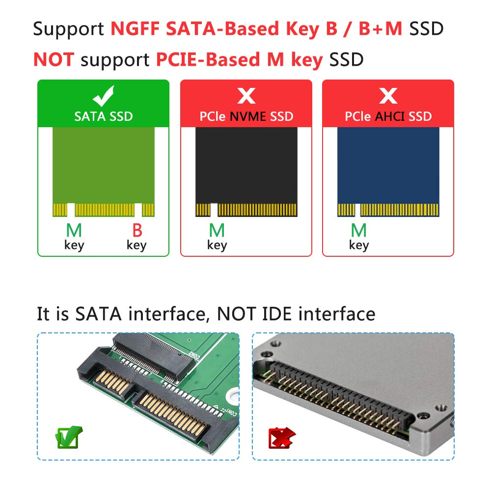 M.2 NGFF SATA SSD to 2.5 IDE Converter Adapter Card Support 2242-2280 SSD