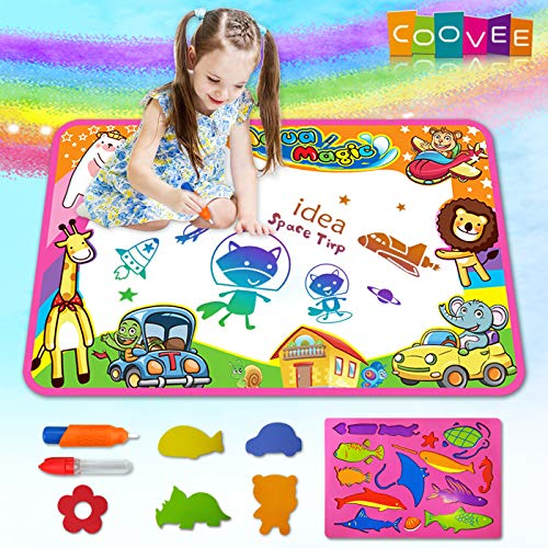 COOVEE Water Drawing Mat, Magic Aqua Doodle Mats 34 X 22 Arts Crafts Painting Pad Toys for Toddler Kids Age 2 to 9 Years Old Toddlers