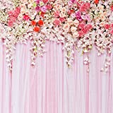 5x5ft Pink Flowers Backdrop Wedding Photography Background Studio Prop D-9192