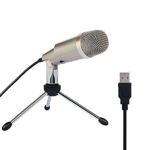5 opinioni per Computer Microfono a Condensatore per YouTube Skype Giochi Mic USB Plug e Play