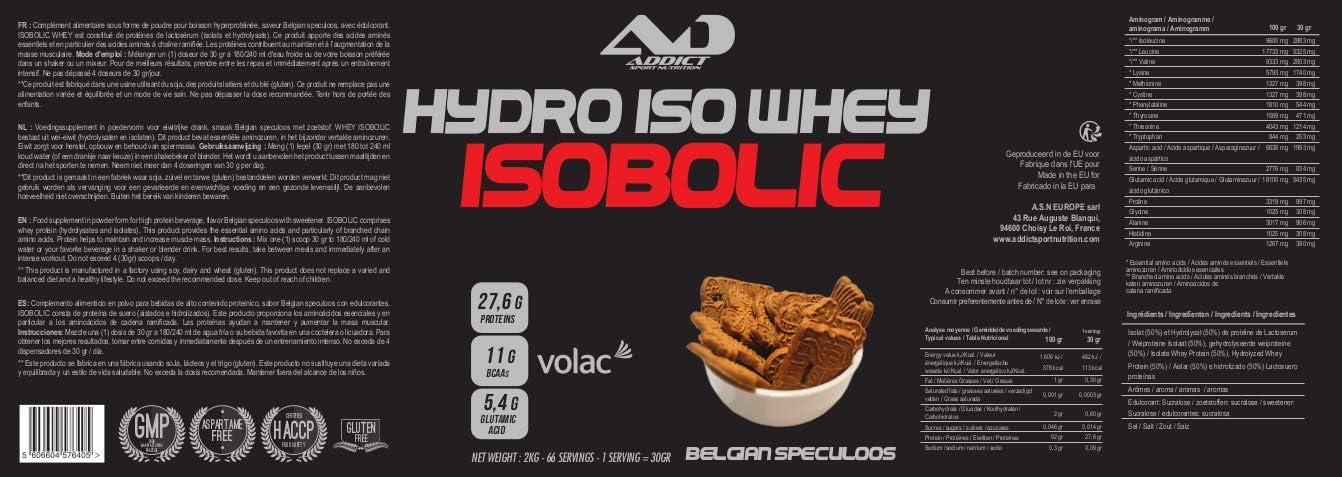 ADDICT SPORT NUTRITION AD - Proteína - Hydro Iso Whey Isobolic - 2 kilos - Sabor Belgium Speculoos