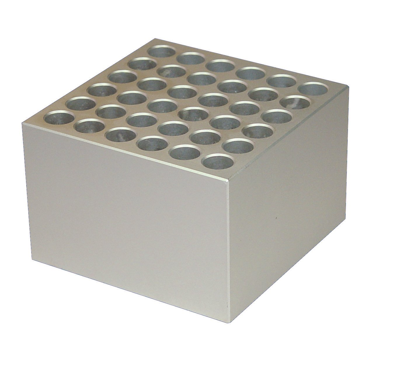 FinePCR AB90-1.5 Aluminum Block for 1.5mL Tubes, Holds 36 Tubes, 3-1/2'' x 2-3/8'' x 3-1/2''