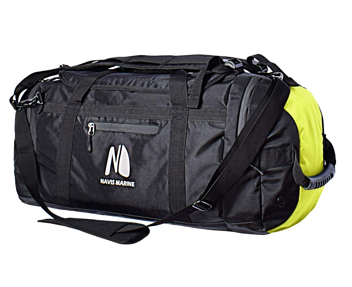 Duffel Dry Bags Waterproof for Sailing Backpack Boating Luggage Team Bag 50-litres (Black/Fluorescent) by Navis Marine